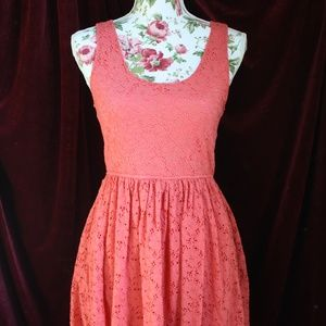 Dresses & Skirts - Coral Eyelet Summer Casual Flirty Mini Dress